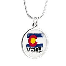 Vail Grunge Flag Silver Round Necklace