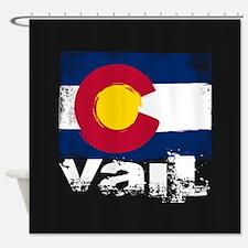 Vail Grunge Flag Shower Curtain