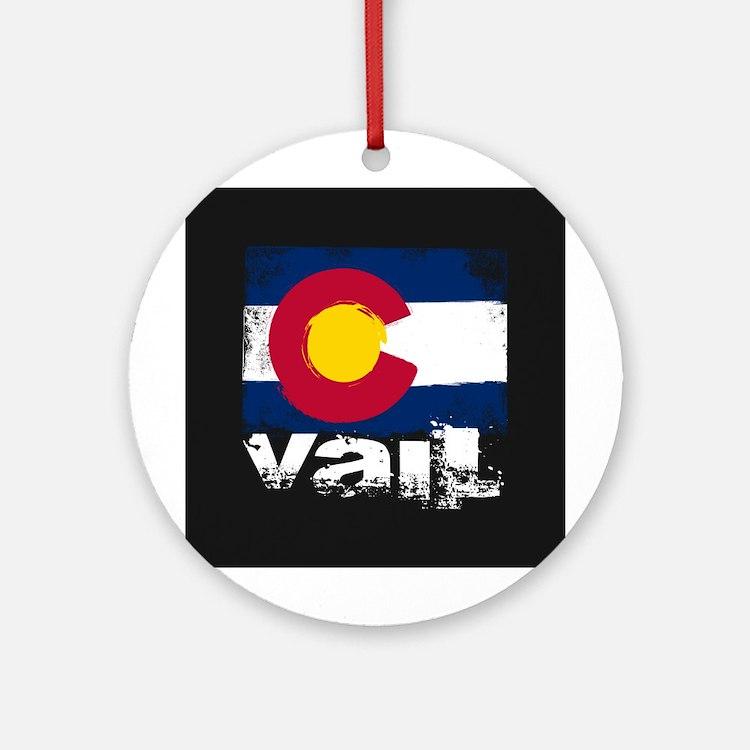 Vail Grunge Flag Ornament (Round)