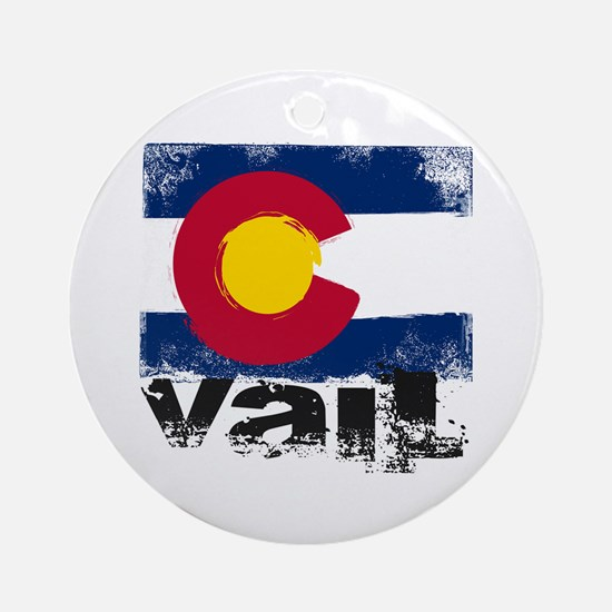 Vail Grunge Flag Ornament (Round)