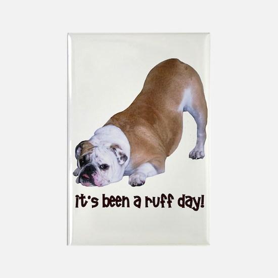 Bulldog Ruff Day Rectangle Magnet