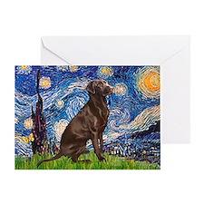 Starry - Choc Labrador Greeting Cards