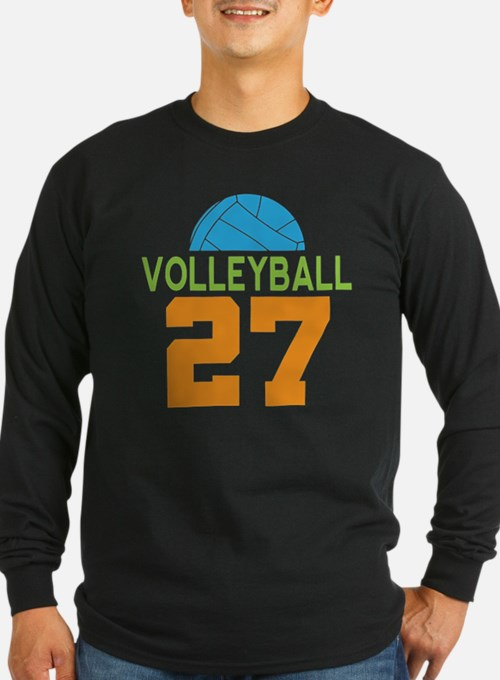 Volleyball Player Number 27 Long Sleeve T-Shirt