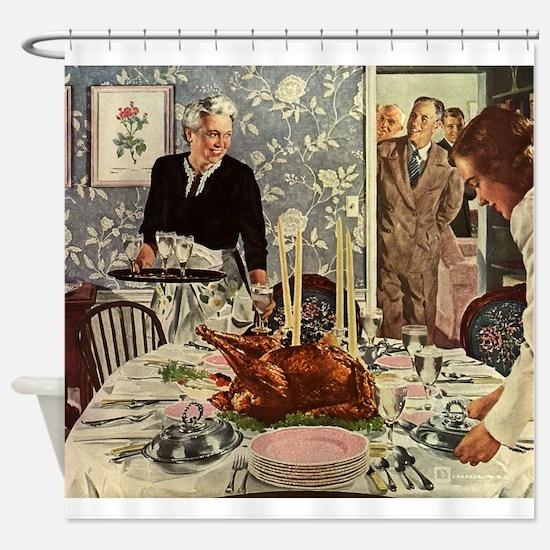 Vintage Thanksgiving Dinner Shower Curtain