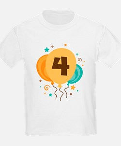 4th Birthday Party Balloon T-Shirt