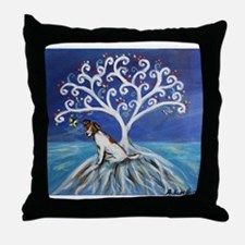Jack Russell Terrier Tree Throw Pillow