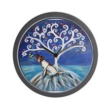 Jack Russell Terrier Tree Wall Clock