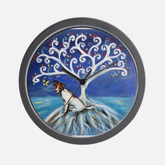 Jack Russell Terrier Tree Wall Clock