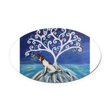Jack Russell Terrier Tree Oval Car Magnet