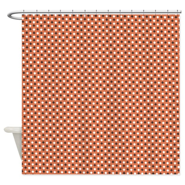 Brown Amp White Dots On Orange Shower Curtain By