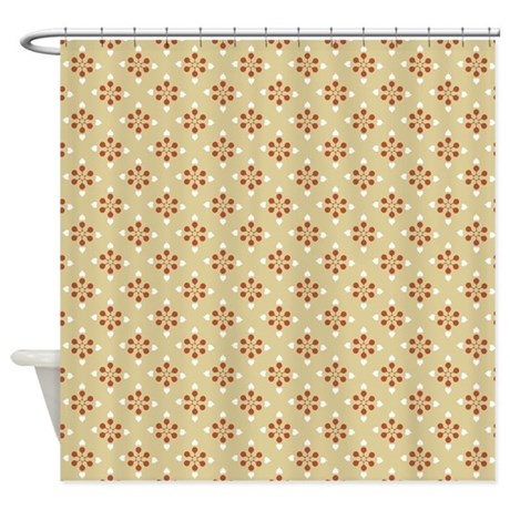 modern orange accents on tan shower curtain by