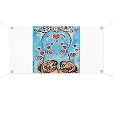 Pug angel love hearts Banner