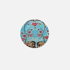 Pug angel love hearts Mini Button