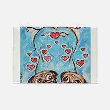 Pug angel love hearts Magnets