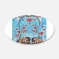 Pug angel love hearts Oval Car Magnet