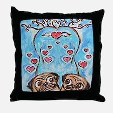 Pug angel love hearts Throw Pillow