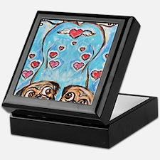 Pug angel love hearts Keepsake Box