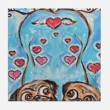 Pug angel love hearts Tile Coaster