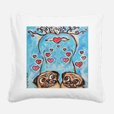 Pug angel love hearts Square Canvas Pillow