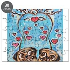 Pug angel love hearts Puzzle