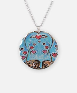 Pug angel love hearts Necklace