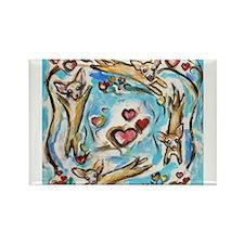 Chihuahuas dance love hearts Magnets