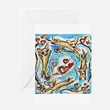 Chihuahuas dance love hearts Greeting Cards
