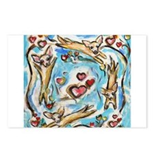 Chihuahuas dance love hearts Postcards (Package of