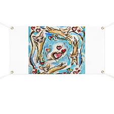 Chihuahuas dance love hearts Banner