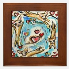 Chihuahuas dance love hearts Framed Tile