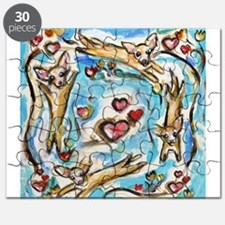 Chihuahuas dance love hearts Puzzle