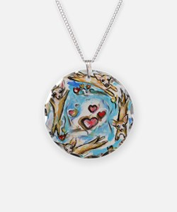Chihuahuas dance love hearts Necklace