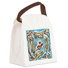Chihuahuas dance love hearts Canvas Lunch Bag