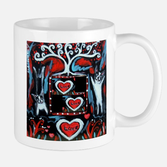 Boston Terrier love happy dance Mugs