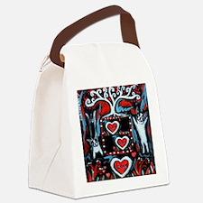 Boston Terrier love happy dance Canvas Lunch Bag