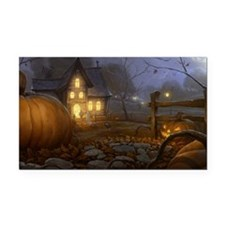Haunted Halloween Village Rectangle Car Magnet