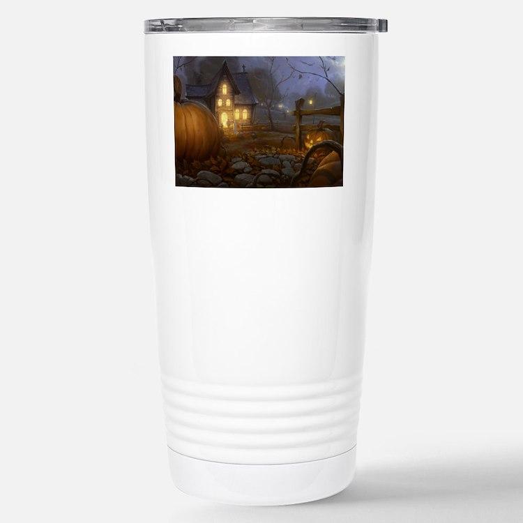 Haunted Halloween Village Travel Mug