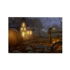 Haunted Halloween Village Rectangle Magnet