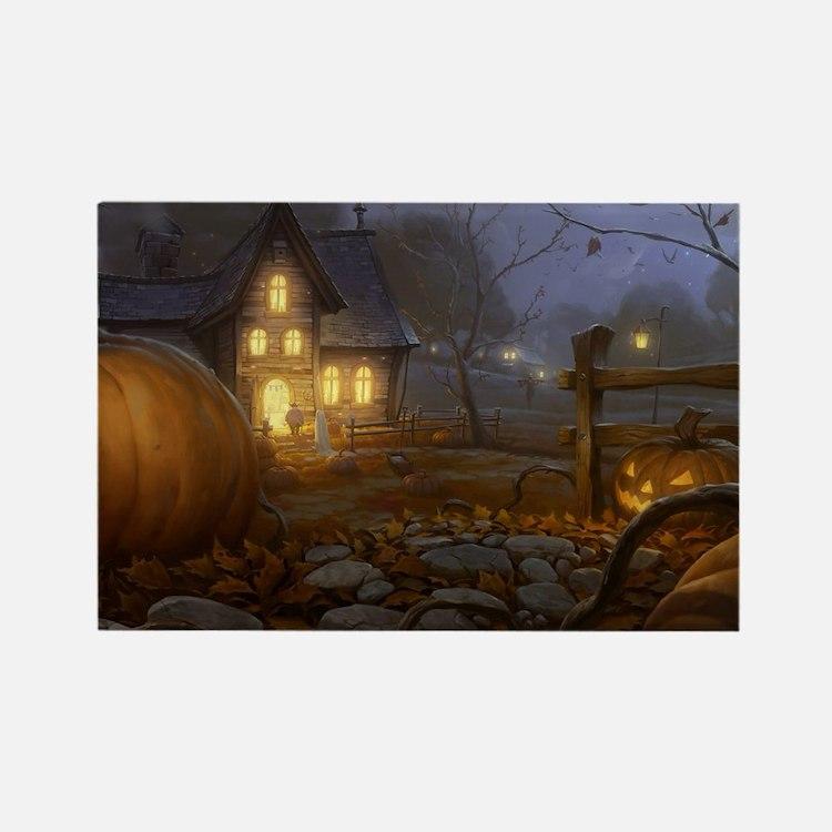 Haunted Halloween Village Rectangle Magnet