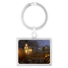 Haunted Halloween Village Landscape Keychain