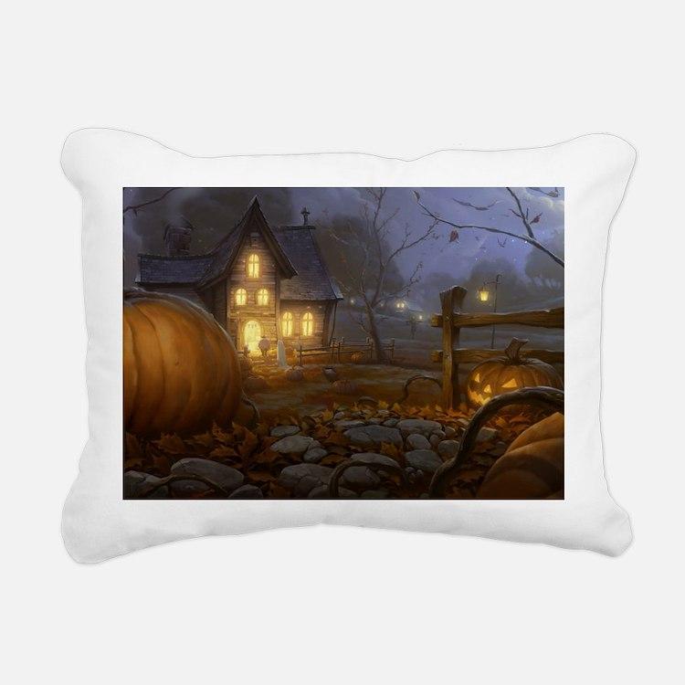 Haunted Halloween Villag Rectangular Canvas Pillow