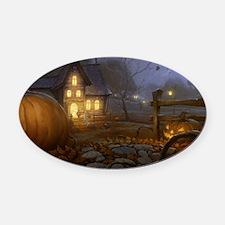 Haunted Halloween Village Oval Car Magnet