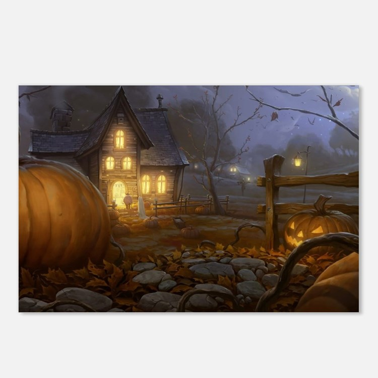 Haunted Halloween Village Postcards (Package of 8)