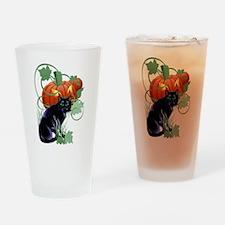 Black Cat and Glaring Pumpkin Drinking Glass