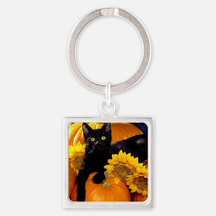 Halloween Cat Square Keychain