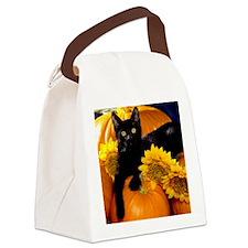 Halloween Cat Canvas Lunch Bag
