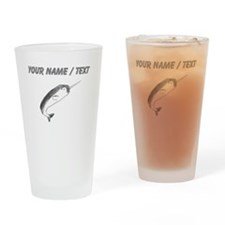 Custom Narwhal Sketch Drinking Glass
