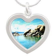 Lake Tahoe Silver Heart Necklace