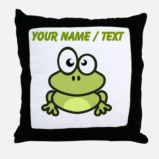 Custom Funny Cartoon Frog Throw Pillow