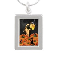 Halloween Pin up Silver Portrait Necklace